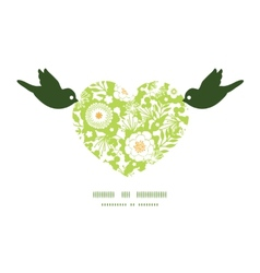 Green and golden garden silhouettes birds vector