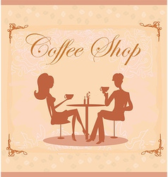 Silhouettes of couple sitting in cafe vector