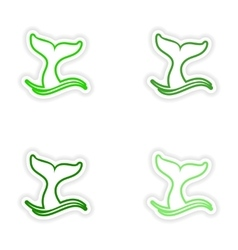 Set paper stickers on white background whale tail vector