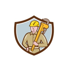 Plumber holding wrench crest cartoon vector