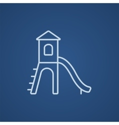 Playground with slide line icon vector
