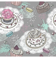 Seamless pattern with cupcakes tea and macaroons vector