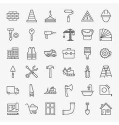 Building construction line art design icons big vector