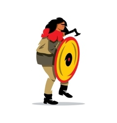 Viking warrior with shield and ax cartoon vector
