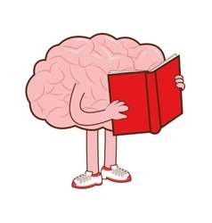Human brain with book icon vector