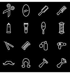line barber icon set vector image