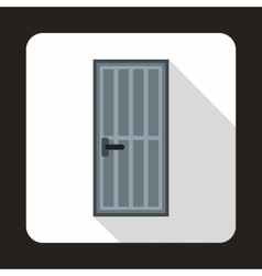 Grey steel door icon flat style vector