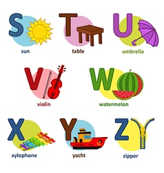 alphabet english from S to Z vector image vector image