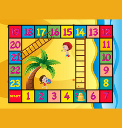Boardgame template with kids on the beach vector