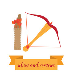 Bow quiver and arrows in vector