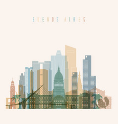 Buenos aires skyline detailed silhouette vector