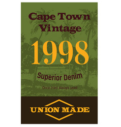 Cape town vintage clothing tag vector