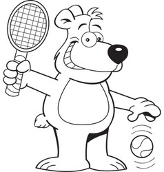 Cartoon bear playing tennis vector image