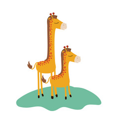 Cartoon giraffe mom with calf over grass in vector