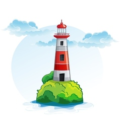 Cartoon image of the island with a lighthouse vector image vector image