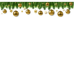 Christmas fur tree border with ball vector