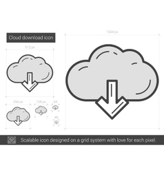 Cloud download line icon vector