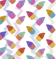Cup cake seamless pattern vector image vector image