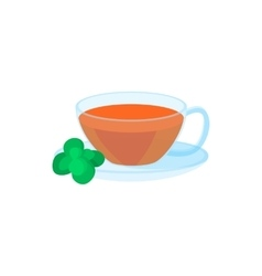 Cup of tea and mint leaf icon cartoon style vector image