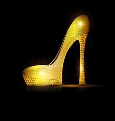 Dark and golden yellow shoe vector
