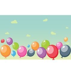 Festive balloons background with sky and clouds vector image