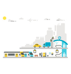 flat design railway station vector image