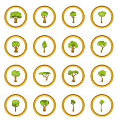 Green trees icons circle vector