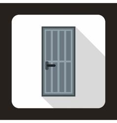 Grey steel door icon flat style vector