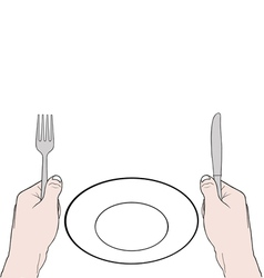 hands holding knife and fork with vector image