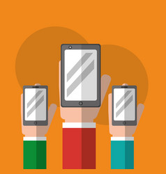 hands holding smartphones device technology vector image