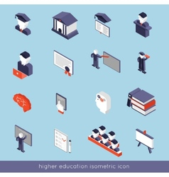 Higher education isometric set vector