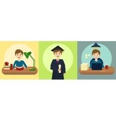 Human life path education and work cartoon vector