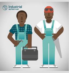 Industrial african workmen set vector