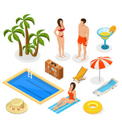 isometric summer vacation elements set vector image vector image