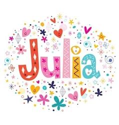 Julia female name decorative lettering type design vector