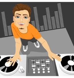Male disc jockey mixing the track vector