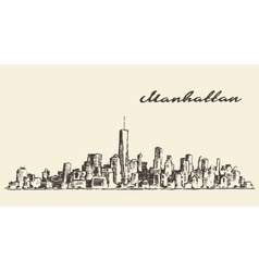 Manhattan New York hand drawn sketch vector image vector image