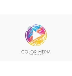 Media logo color media paly button logo music vector