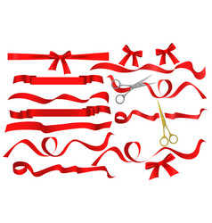 Metal chrome and golden scissors cutting red silk vector