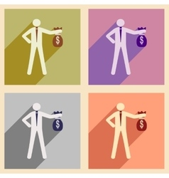 Modern collection flat icons with shadow man with vector