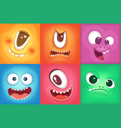 Monster cartoon faces demon smiles and big crazy vector
