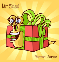 mr snail with surprise vector image vector image