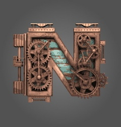 N rusted letter with gears vector