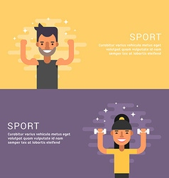 People sport concept fitness male and female vector