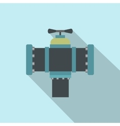 Pipe with a valve flat icon with shadow vector image