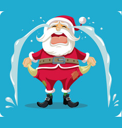 sad crying santa with empty pockets cartoon vector image