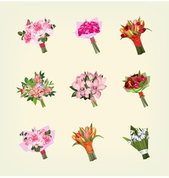 set of many bouquets of flowers vector image vector image