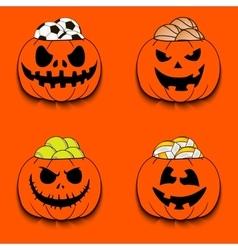 Set the balls in a pumpkin vector image vector image