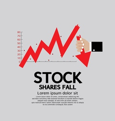 Stock shares fall down concept vector