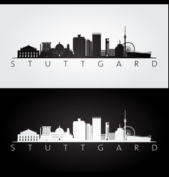 Stuttgart skyline and landmarks silhouette vector